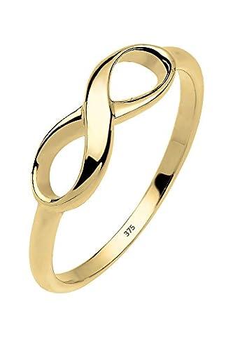 Elli PREMIUM Damen Schmuck Ring Motivring Infinity Unendlichkeit Liebe Freundschaft Forever Liebesbeweis 375er Gelbgold Größen 52 54 56 (9 Ct Goldringe)