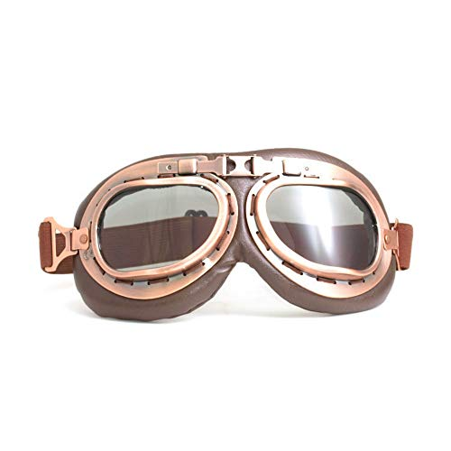 FXXUK Motorradbrillen Vintage Aviator Style Mat Brown Anti-Crash-Linsen Erwachsenen Motocross Racing Aviator Brille Gläser,Tea