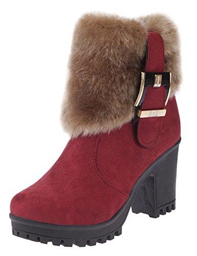 Aisun Femme Confortable Fourrure Talon Bloc Tige Courte Bottines Rouge