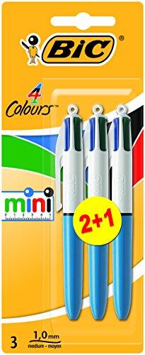 BiC – Rotuladores de punta redonda (tamaño pequeño, 4 colores: negro, azul, rojo y verde, 3 unidades)