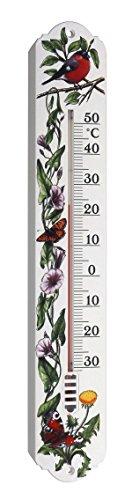 TFA Dostmann Innen- und Außenthermometer, Rotkelchen- / Schmetterlingsdesign