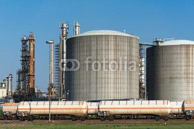 """Poster-Bild 140 x 90 cm: """"Tankanlagen mit Kesselwaggons 1222"""", Bild auf Poster"""