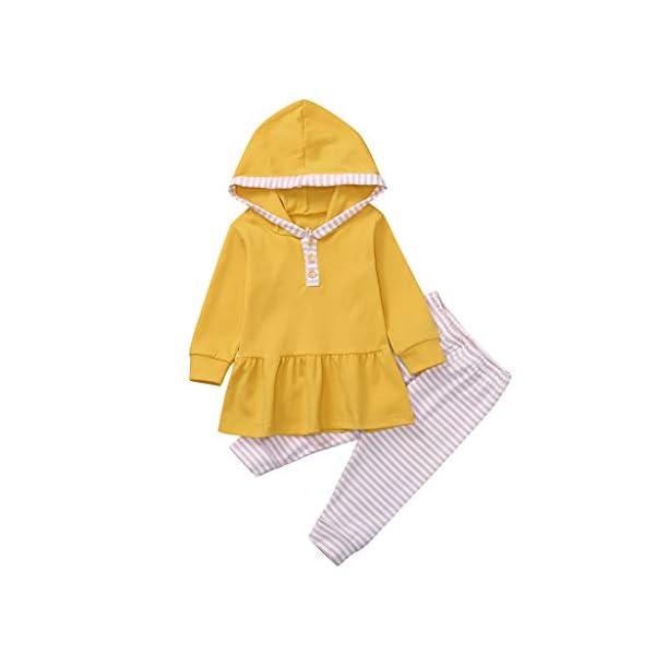 Body para bebés y niños pequeños Tops de Volantes sólidos con Capucha para bebés y niños pequeños + Pantalones de Rayas… 5