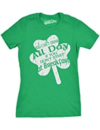 Womens Drink All Day T Shirt St Paddys Saint Patricks Day Parade Tee For Ladies