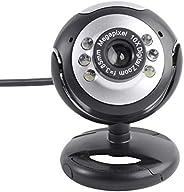 كاميرا هيموبللو يو إس بي لأجهزة الكمبيوتر المحمول 6 كاميرا ويب مع ميكروفون / كاميرا فيديو / أسود