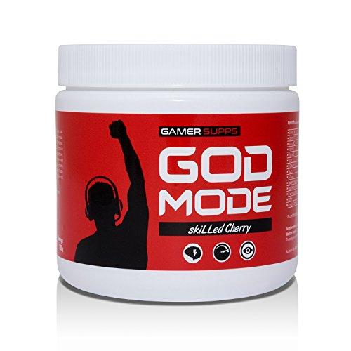 GAMER SUPPS God Mode eSports Engery Drink für Gamer, Multivitamin Amino Getränk, wenig Kalorien, wenig Zucker, 280g, 40 Portionen, Geschmack:skiLLed Cherry (Kirsche)
