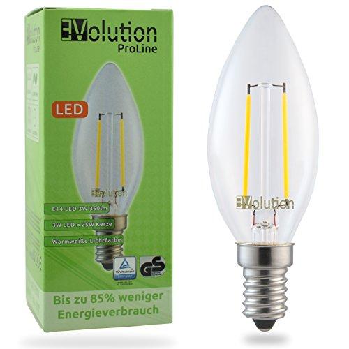 Evolution® E14 3W 350LM | Filamento LED lampadine a incandescenza | Lampada 230V AC 270 ° | Sostituzione 20-25W | Lampade E14 bianco caldo | Set di 1