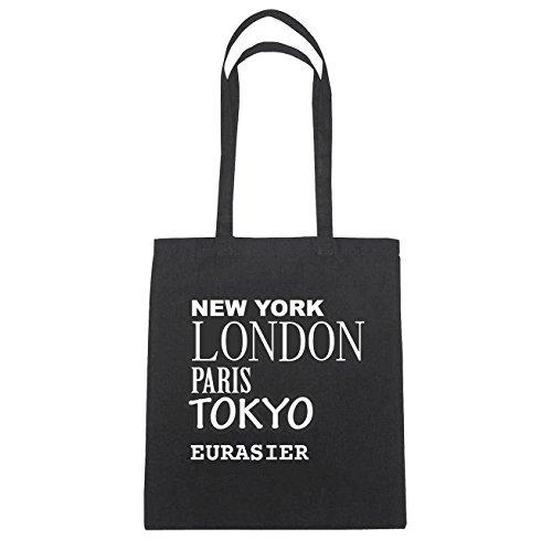JOllify Eurasier di cotone felpato b6361 schwarz: New York, London, Paris, Tokyo schwarz: New York, London, Paris, Tokyo