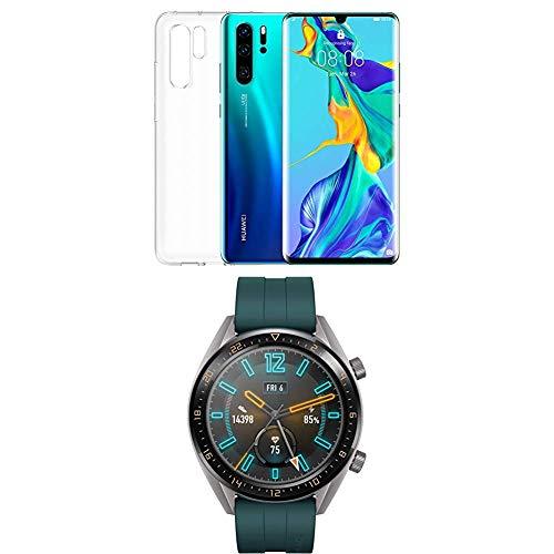 Foto Huawei P30 Pro Plus (Aurora) più cover trasparente + Huawei Watch GT Active...