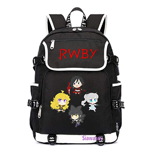 Siawasey Anime RWBY Cosplay Ruby Rose Rucksack Daypack Bookbag Laptop Schultasche mit USB-Ladeanschluss Schwarz 7 Large (Ruby Hausschuhe Kostüm)