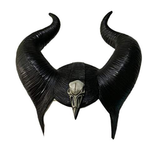Chiefstore Schwarze Königin Hexe Hörner Hut Kopfbedeckung Maske 2019 Film Mistress of Evil Cosplay Kopfbedeckung Helm Frauen Kostüm Zubehör für Halloween (Style A)