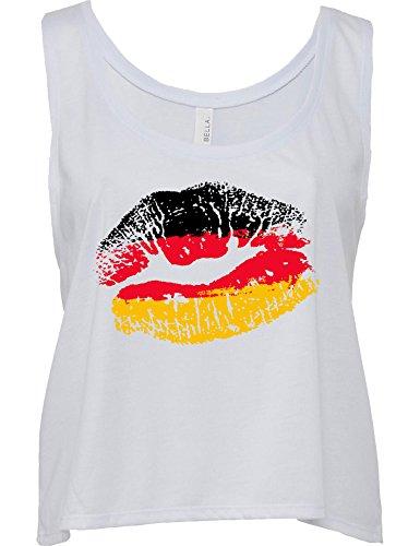 Damen WM T-Shirt - Deutschland Kuss - T-Shirt zur Fußball WM 2018 - Deutschland Shirt - Fussball Trikot - Fussball Shirt - WM Shirt Frauen Damen Mädchen - Geschenk zur Fussball WM Fan (M)