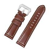 SEBAS Home 24mm Feine, Glatte, Schlichte, braune Lederarmbänder für große, Dicke Herrenuhren