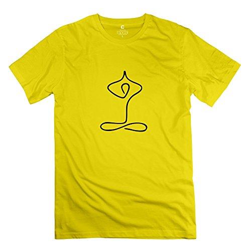 Yoga Geste 100% Baumwolle Herren T-Shirts Weiß Künstlerin rahk Small gelb (Text Gelben T-shirt)