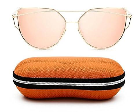 Elinka Cat Eye Sunglasses Women Fashion Twin-Beams Classic Metal Frame Mirror Sun glasses Modern Cateye Glasses UV400 with Case (Rose Gold)