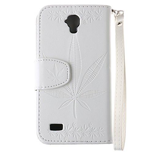 YHUISEN Geprägte Maple Leaf Design Pu-leder Flip Wallet Stand Case Mit Kartensteckplatz Für Huawei Y560 ( Color : White ) White