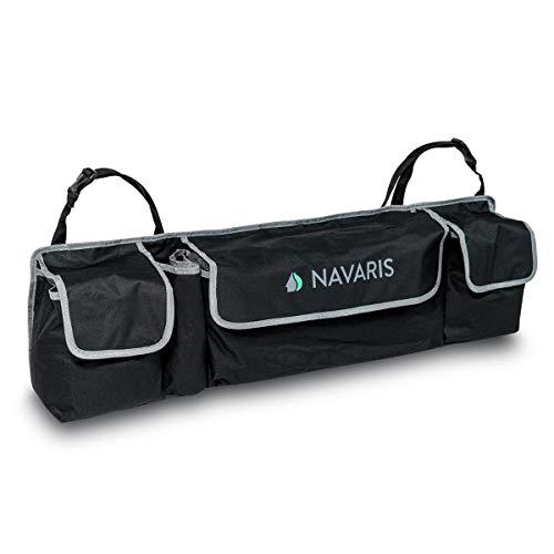 Navaris organizer multitasca bagagliaio auto - contenitore portaoggetti da appendere 89 x 25 cm - baule porta oggetti 4 scomparti per cofano macchina