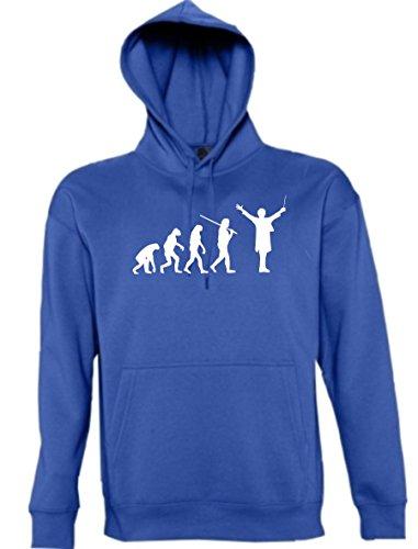 Maglia felpa con cappuccio-shirt Evolution Town shirtzshop musicista Sänger musica, Band direttore dara effetto, dimensioni XS-XXL Blu