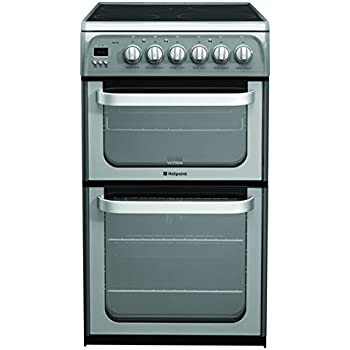 Hotpoint Hue52gs 50cm Double Oven Electric Cooker With