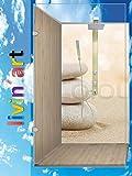 ORIGINAL Livinart Duschrückwand, Zen Steine Sand Strand, Wandverkleidung Wandbild Rückwand Alu-Dibond, Fliesenersatz, Zuschnitt auf Ihre exakten Wunschmaße (1 Platte mit wunschmaß bis Größe 3)