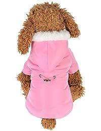 Ropa para Mascotas,Gusspower Ropa de Abrigo Abajo Chaqueta Invierno Suéter Sudadera con Capucha Cuello de Piel cálido cómodo Deportiva Traje para Mascotas Gato Perro con Banda elástica