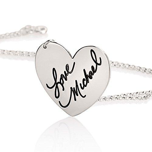 Signatur-Halskette - Personalisierter gravierter Herzschmuck mit Ihrer aktuellen Handschrift, Sterlingsilber (Personalisierte Signatur-schmuck)