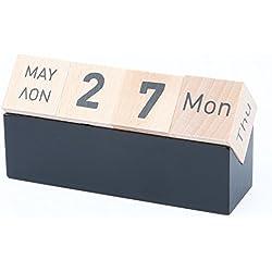 Lodabodkin - Calendario de madera creativo, perpetuo y planificador en bloque para el escritorio del hogar y oficina.