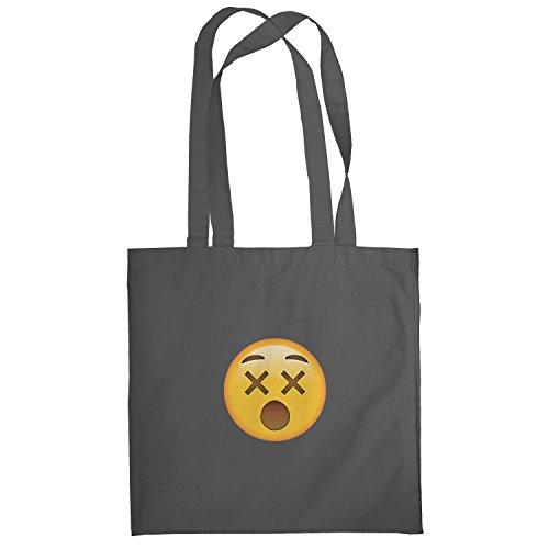 Texlab–dizzy Face Emoji–sacchetto di stoffa Grau