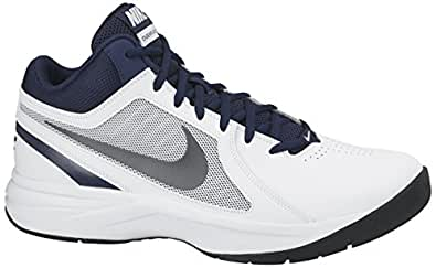 Nike Men's The Overplay Viii White, Metallic Grey, Navy and Black Basketball Shoes -8 UK/India (42.5 EU)(9 US)