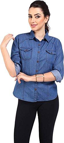 Trendy frog Women TP Dark Full Denim Shirt, Blue, Medium