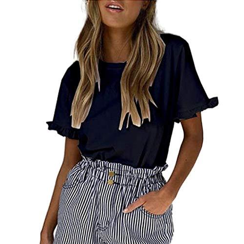 Kviklo Damen Top T-Shirt Solide Rüsche O-Ausschnitt Kurzarm T Beiläufige Lose Bluse(S(36),Schwarz) (Kostüm Doctor Who Mädchen)