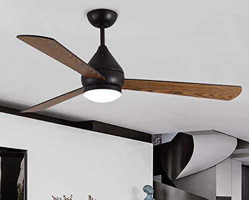 Moderner Deckenventilator 132 cm, mit Deckenlampe und Propeller-Deckenventilator 3 x Holzflügel und praktischer Fernbedienung-black -