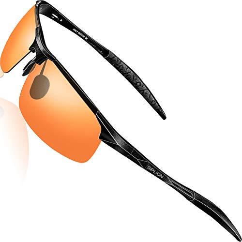 SIPLION Herren Sport Polarisierte Treiber Glasses Sonnenbrillen Al-Mg Metallrahme Ultra leicht 8177 Red
