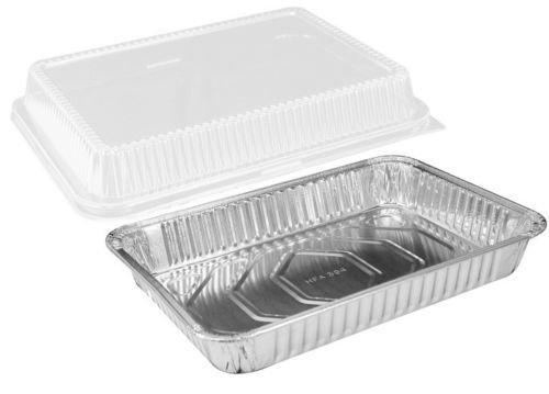 handi-foil 33x 22,9x 5,1cm länglichen Aluminium Folie Einweg Backen Kuchenform mit Clear Dome Deckel-HFA Ref # 394-wdl Aluminium-oblong Pan