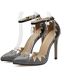 Las Mujeres De Tacón Alto De Moda Multicolores Zapatos De Boca Baja De Otoño Tobillo Correa De Zapatos Casuales Zapatos De Boda ( Color : Gray , Size : 35 )