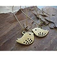 ✿ Orecchini Bronze Pieps con ganci lunghi ✿ Orecchini vintage con passero di uccello