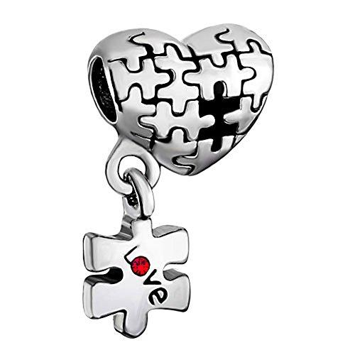 Sug Jasmin–Juego de concienciación sobre el autismo Puzzle encanto corazón Love cuentas para encanto pulseras