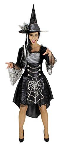 Karneval-Klamotten Sexy Damen Hexenkostüm grau-schwarz Damen-Kostüm Hexe mit Hexenhut Größe (Walpurgisnacht Kostüm)