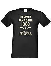Geschenk-Set : Hammer Jahrgang 1960 Herren T-Shirt & Urkunde : Geschenkidee zum 57. Geburtstag : Humorvolles Geburtstagsgeschenk für Männer Übergrößen bis 5XL Farbe: schwarz