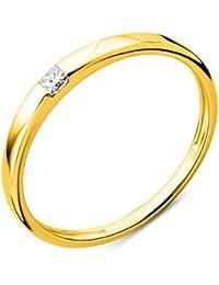 Miore Damen Gelbgold Diamant Solitär Verlobungsring 9KT (375) mit Brillant 0.06 ct