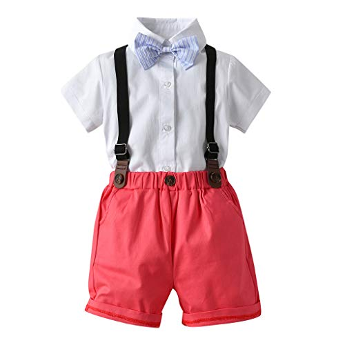 Julhold Kleinkind Jungenmode Einfache Gentleman Anzüge Kurzarm Baumwollhemd Hosenträger Shorts Outfit Set 0-5 Jahre (Schwarz Petite-trenchcoat)