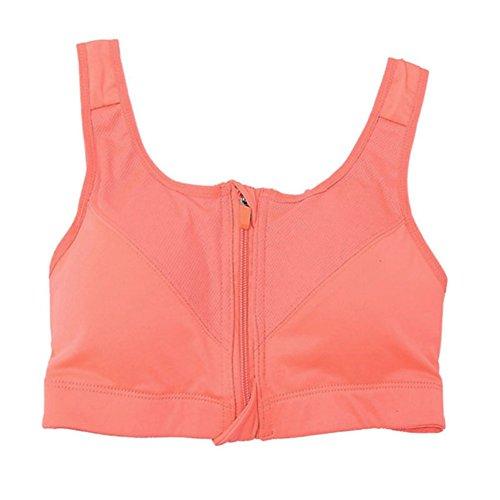 Brightup Femme soutien-gorge de Sports Yoga Fitness Débardeurs Bra Rembourrée Zipper extensible Sans Couture Orange
