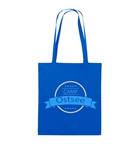 Comedy Bags - Camp Ostsee - Jutebeutel - lange Henkel - 38x42cm - Farbe: Schwarz / Weiss-Neongrün Royalblau / Weiss-Hellblau