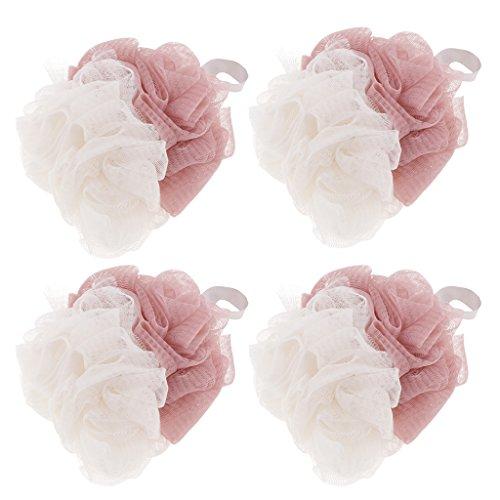 Homyl 4pcs Éponges Nettoyage Bouffée pour le Bain Savons pour l'exfoliation Élégant Maille - Rose