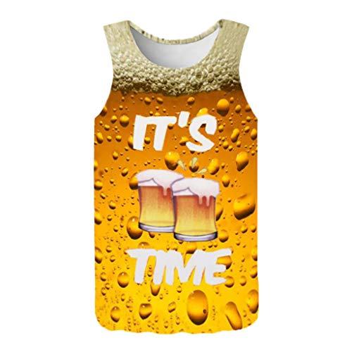Saingace Herren Kurzarm Round Hals Bier 3D Print Tank Top T-Shirts Oberteile mit Sprüchen Männer Hemden Tops - Männer Bier Tank-tops Für