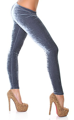 SANSelle - Damen Fashion Samt-Leggings Velvet - Grey - Größe 34-36 - Velours