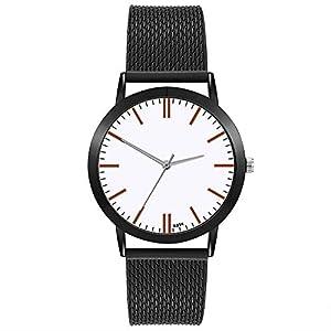 Armbanduhr Damen Ronamick Damen mode Luxus Freizeit Set Auger Leder Edelstahl Quarz Uhr Armband Armbanduhr Uhr Uhren(BK)
