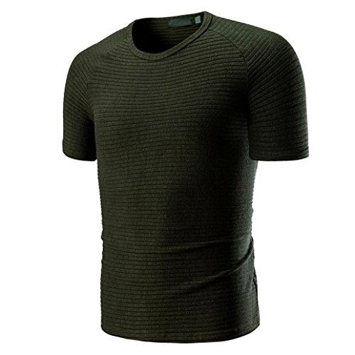 ASHOP Herren Einfarbige Rundhalsausschnitt Kurzarm Fitness T-Shirt Größen M-3XL (L, Armeegrün)