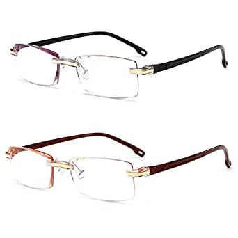 Inlefen 2 Pack Frameless Reading Glasses Men women Rectangle Eyeglasses Computer Readers Blue Light Blocking +1.0