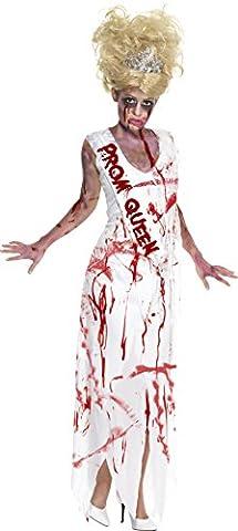 Smiffy's 32950L High School Zombie-Ballkönigin-Kostüm, L, weiß (Mad Krankenschwester Halloween Kostüm)